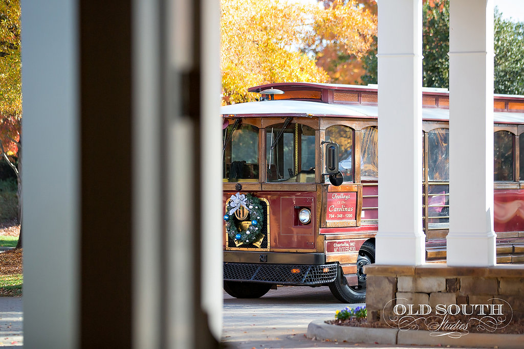 Trolley for a Magnificent Moments Wedding at the Ballantyne Country Club.