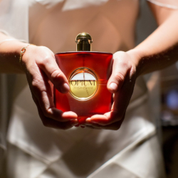 Bride with her perfume