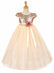 Sequin flower girl dress that sparkles with tulle skirt