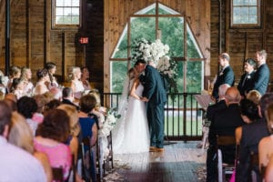 Wedding Ceremony in the upstairs loft at The Dairy Barn