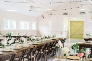 Reception set for wedding at The Dairy Barn