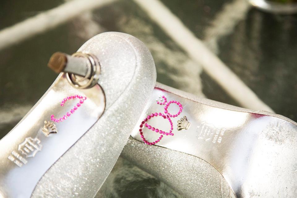 pink i do on wedding shoe