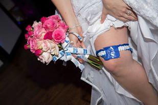 Duke garter and toss bouquet ribbon