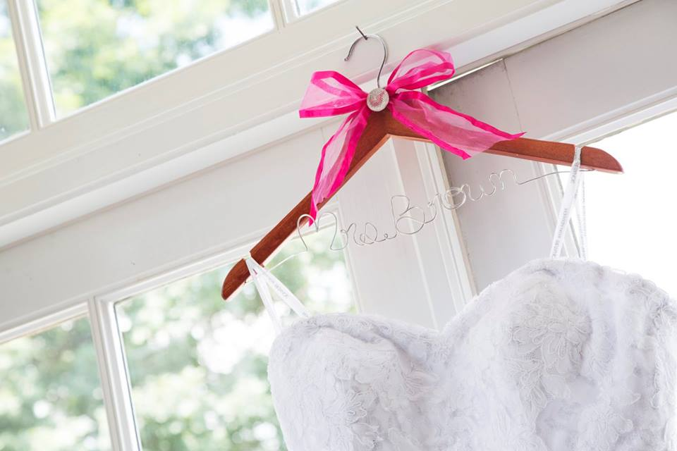 mrs. brown wedding dress hanger with pink bow