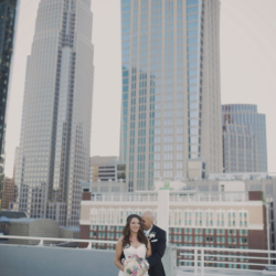 Bride and groom portrait in Uptown Charlotte.