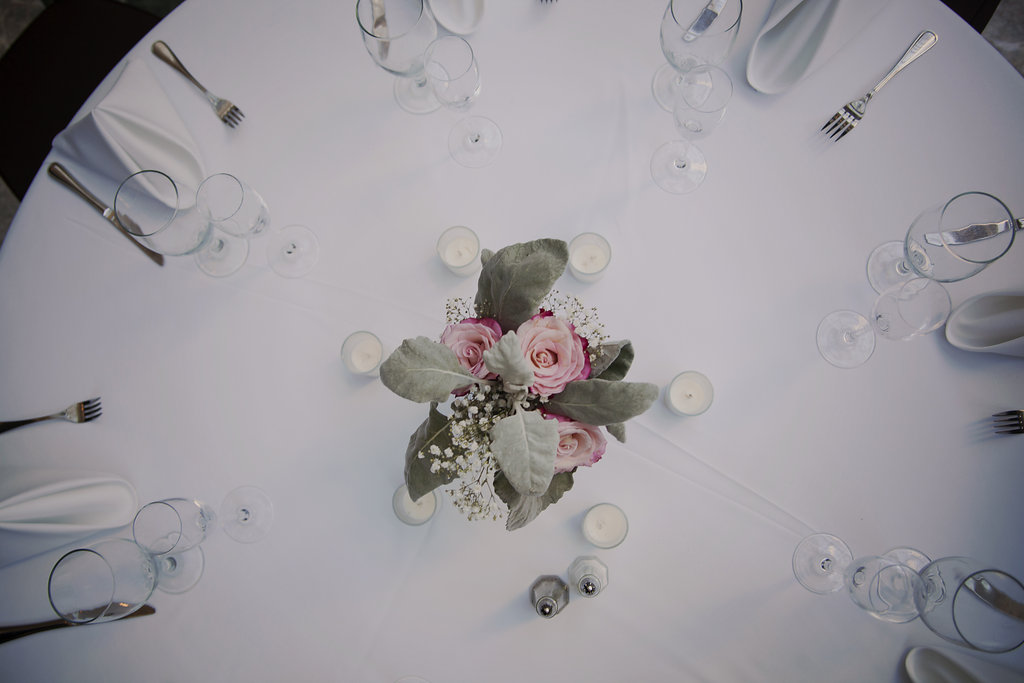 wedding centerpiece on a table