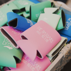 Wedding koozie favors.