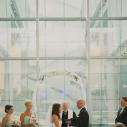 wedding ceremony with an arch