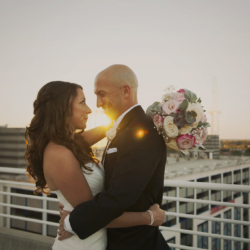 Bride and Groom golden hour portraits in Uptown Charlotte.