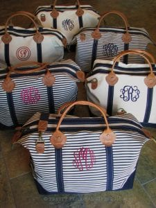 Bridesmaids gift idea weekender bags sold by Pretty Personal Gifts