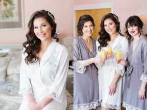 Charlotte Wedding Planners suggest adorable lace trim robes as perfect getting ready outfits for your bridal party