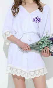 Monogram lace trim robe perfect outfit for bridal party to get ready in