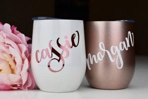 Bridesmaids gift wine tumblers so by Bride2bedesigns