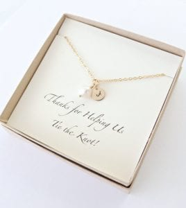 Bridesmaids gift idea pearl initial necklace sold by Vintage Stamp Jewels