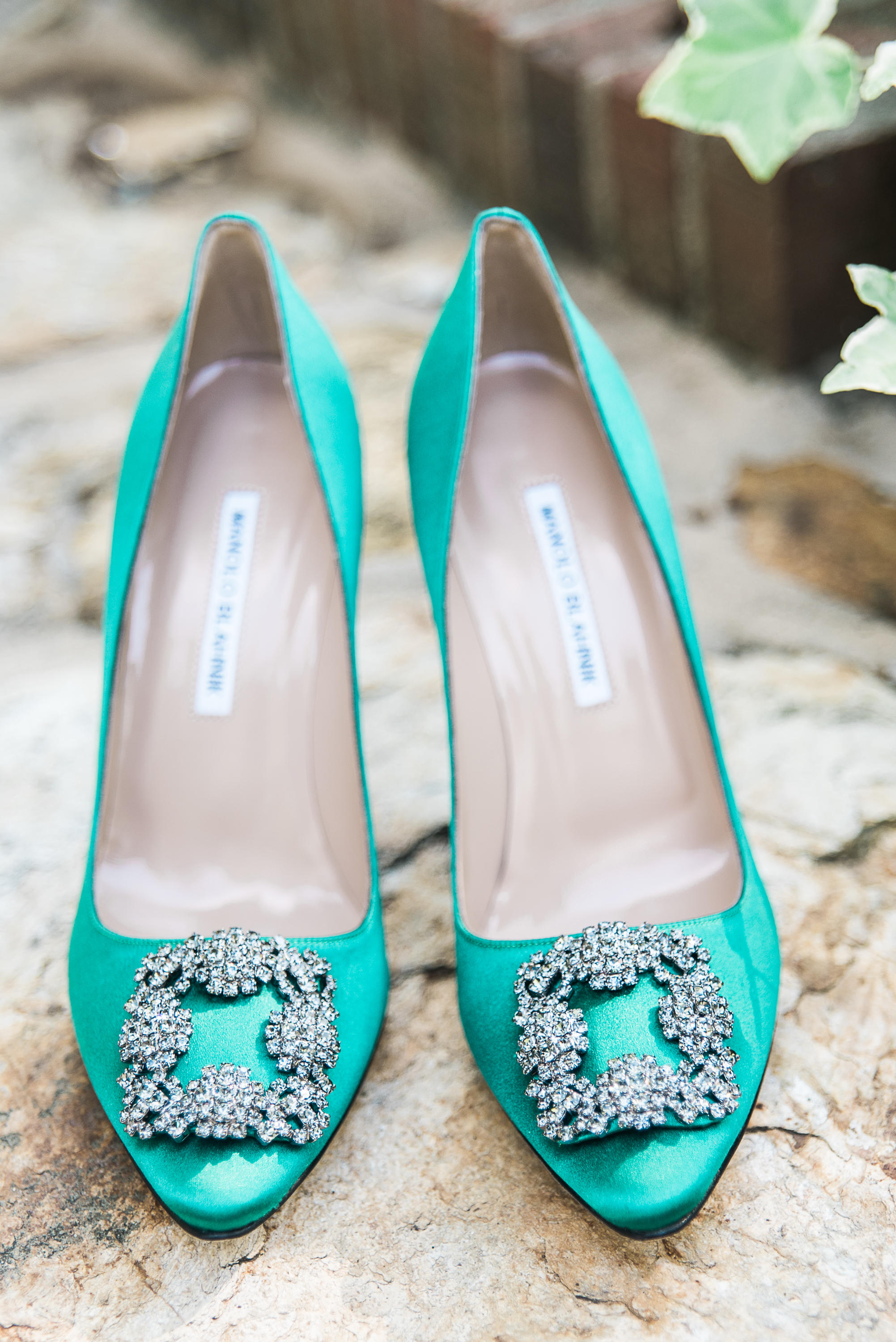 Manolo Blahnik green wedding shoes with buckle.