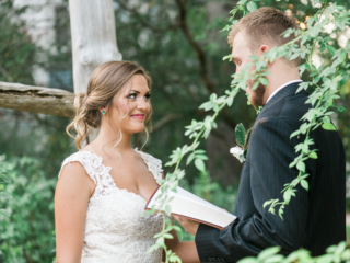 Beautiful Bride and Groom exchanging vows for their ceremony at The Ivy Place.