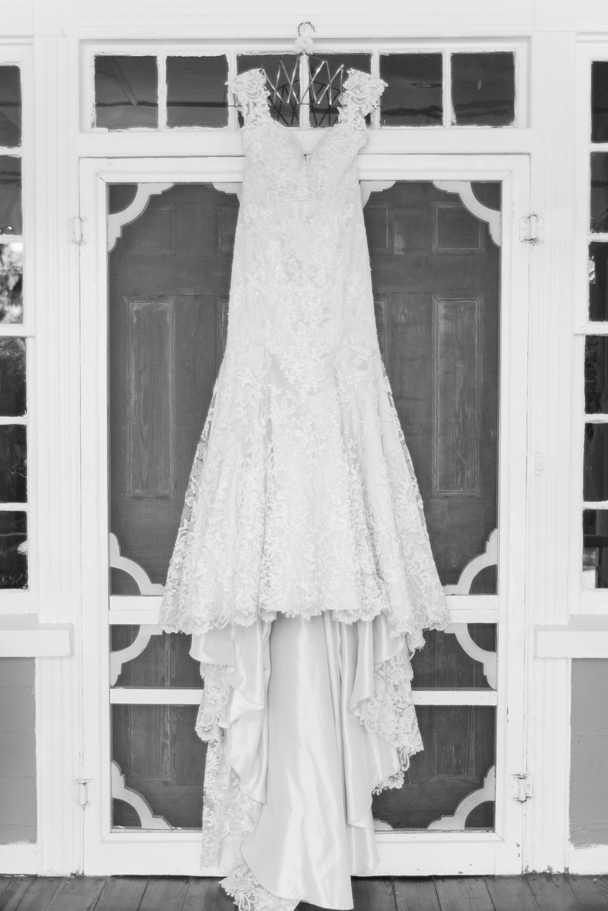 J Major bridal gown hanging up.
