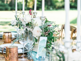 Tablescape of a green inspired wedding.