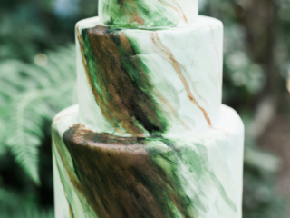 Green Marbled Wedding Cake with Copper Accents.