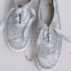 Sparkle sneakers are the brides perfect shoes for a fall wedding at Foundation for the Carolinas