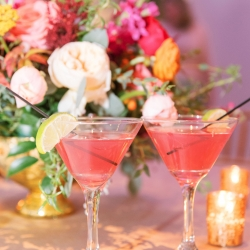 Pink signature cocktails created by Best Impressions Catering are the perfect treat for guests at an Uptown Charlotte wedding