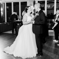 Bride and groom share a sweet dance to music provided by Carolina DJ Professionals during their Uptown Charlotte Wedding reception