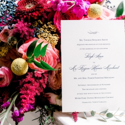 Elegant invitation and lush bright florals are the perfect details for Sunshower Photography to capture