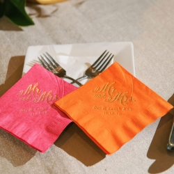 Custom napkins show of the bride and grooms names for a fun fall event captured by Sunshower Photography