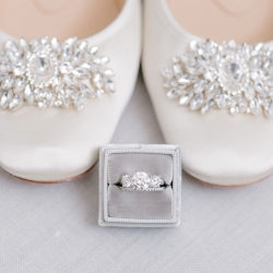 Bridal jewelry and delicate shoes are the small details captured by Sunshower Photography for a fall wedding