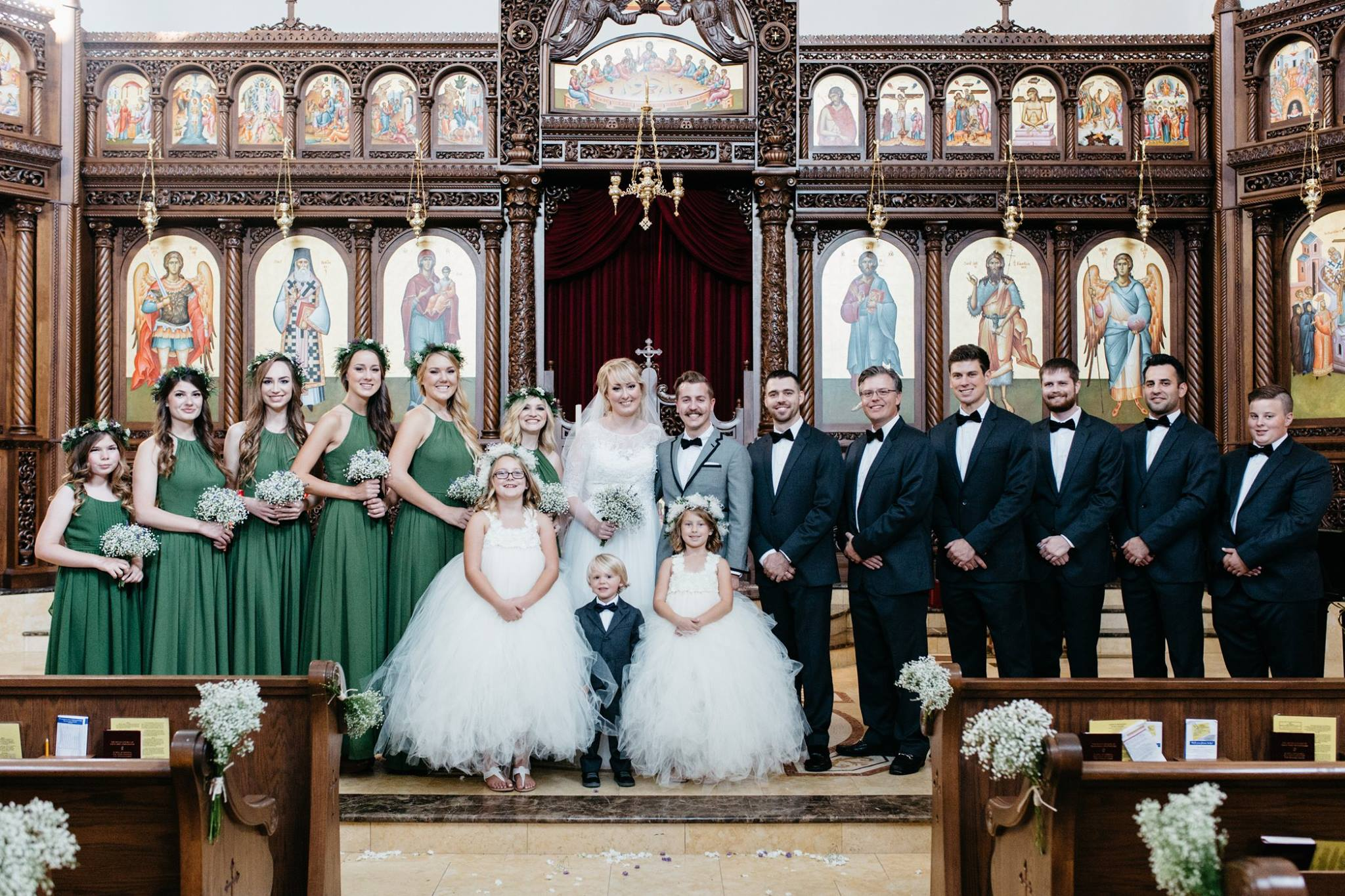 wedding party portrait at St. Nektarios Greek orthodox church