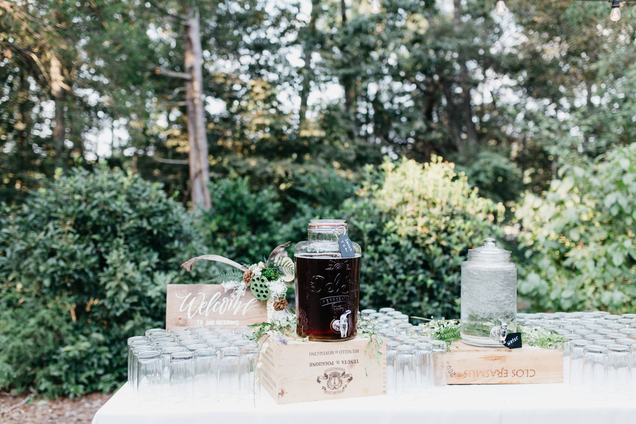 drink station of sweet tea and water at Morning Glory Farms