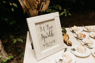 let love sparkle sign for wedding sparkler exit