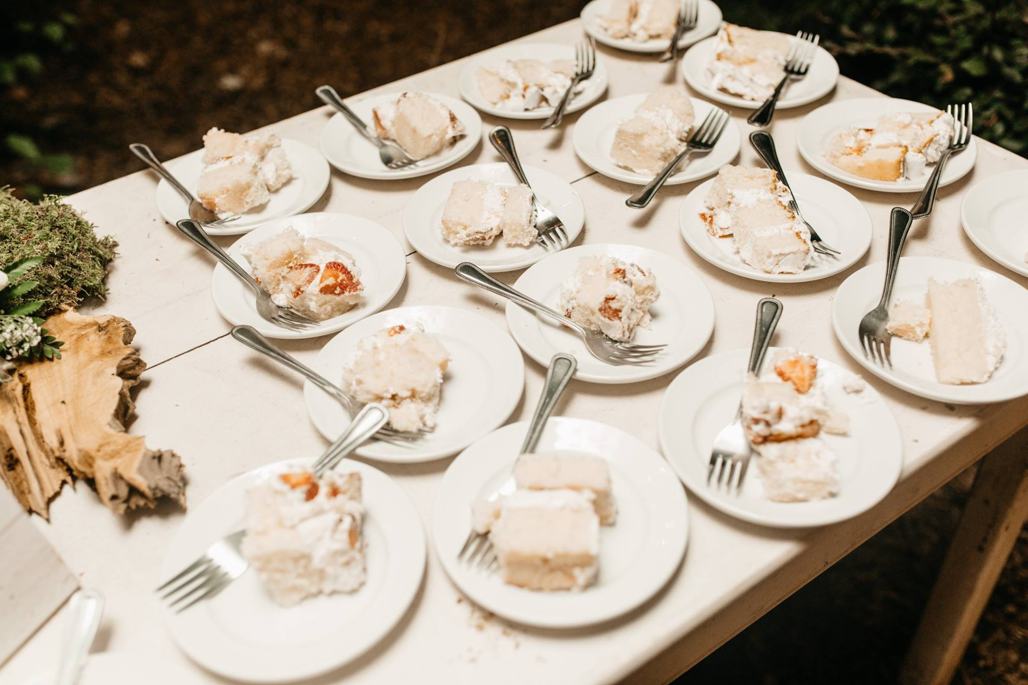 wedding cake on plates