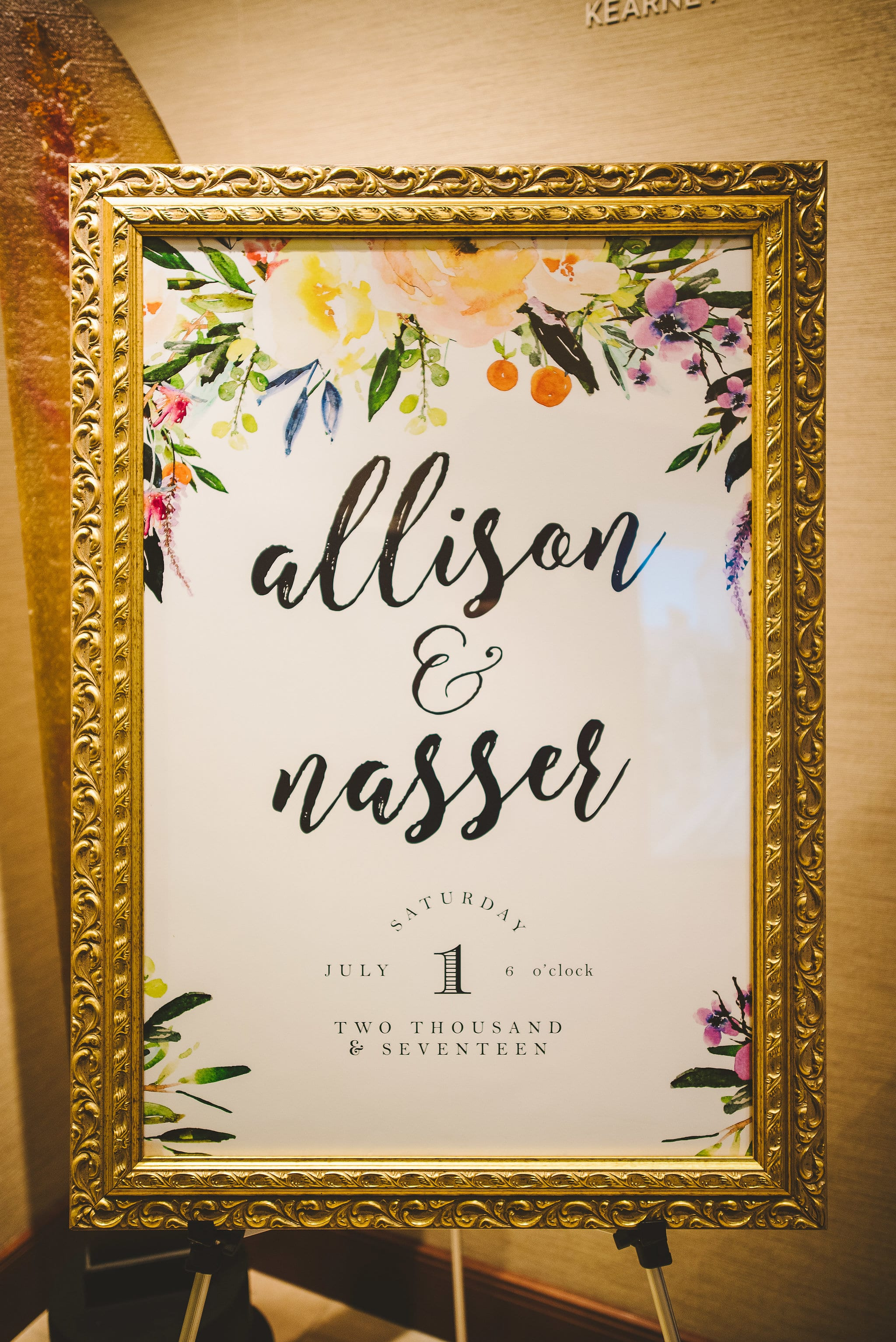Water color flower wedding welcome sign