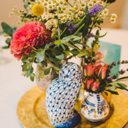 bud vase centerpieces with cat figurines