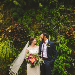 Wedding photos at the living wall at Foundation for the Carolinas in uptown Charlotte, NC