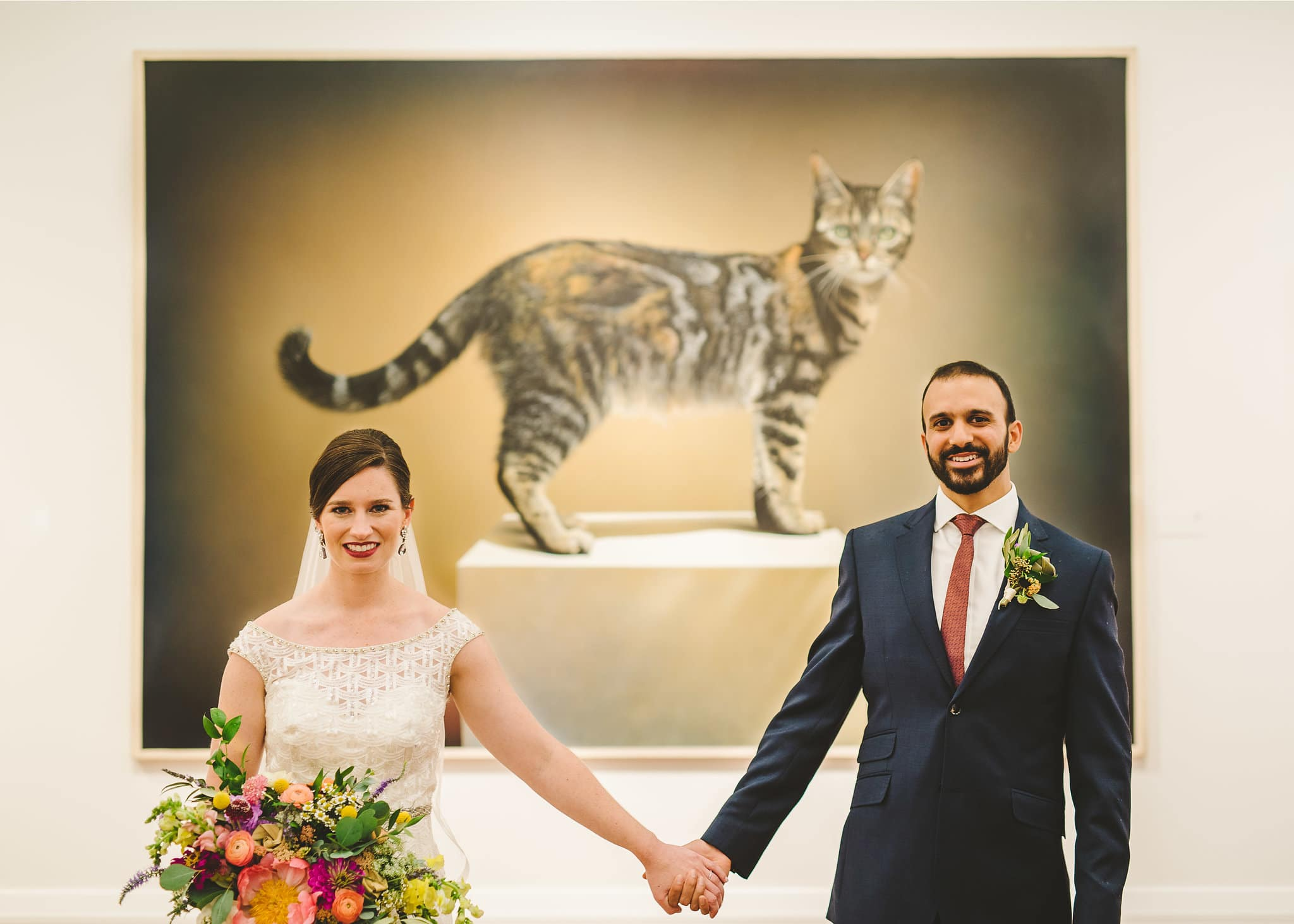 Wedding photos with the cat portrait at Foundation for the Carolinas in uptown Charlotte, NC