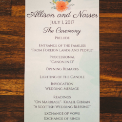 wedding ceremony programs with floral crest