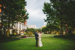 Charlotte Uptown Wedding bridal pictures on The Green park coordination by Magnificent Moments Weddings