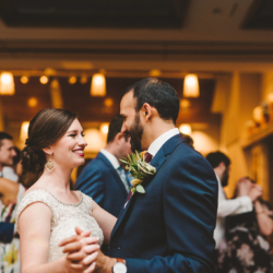 bride and groom dancing during their reception at the Foundation for the Carolina's