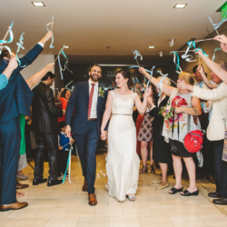 bride and groom ribbon wand exit at Foundation for the Carolinas
